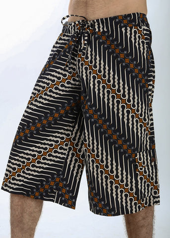 Batik Shorts - Navy Tribal