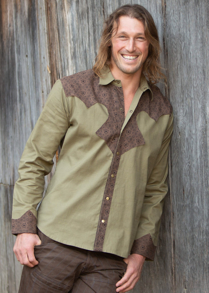 Cowboy Shirt - Olive/Brown Merkaba