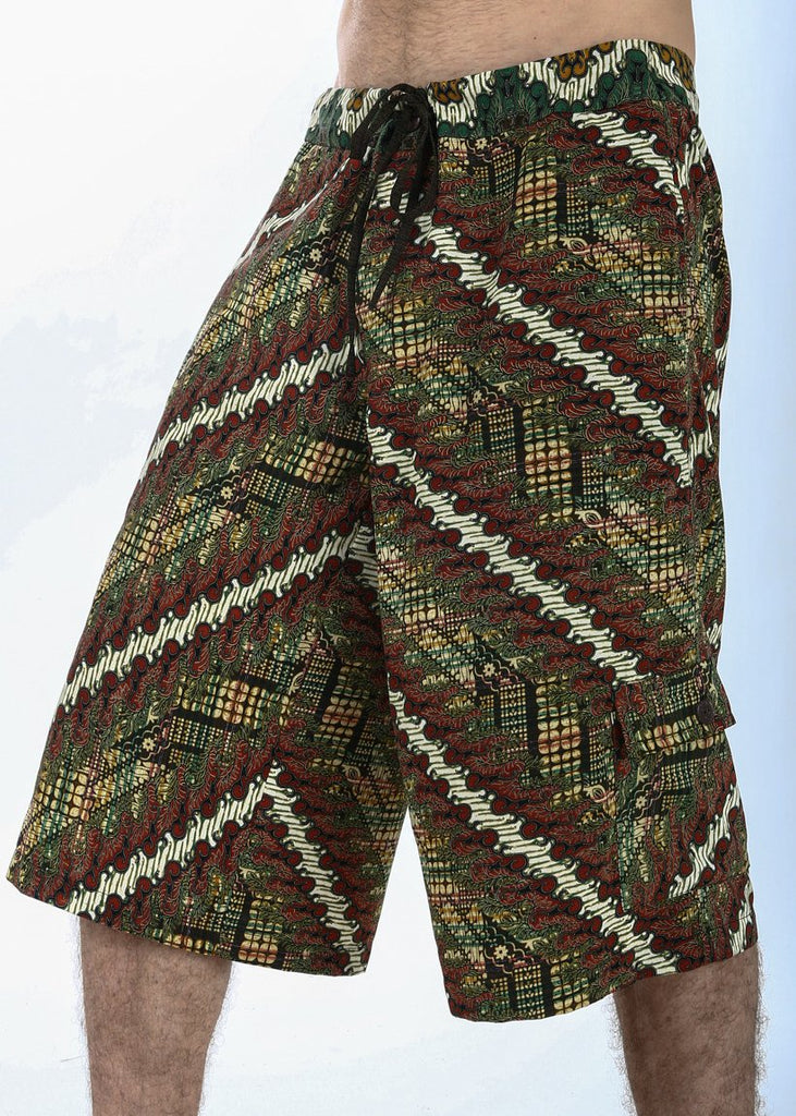 Batik Shorts - Red/Gold/Green