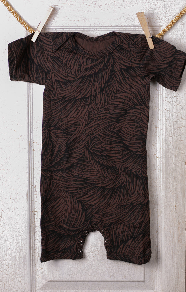 Organic Romper Onesie - Brown Wing