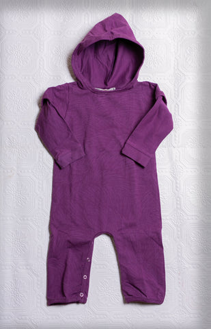 Organic Hooded Romper Onesie - Purple