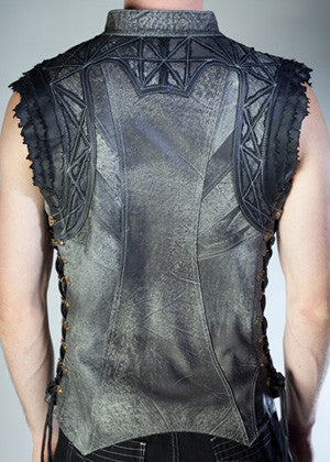 Leather Arkana Vest - Charcoal
