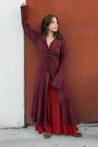 Women's Sirocco Duster Coat - Burgundy
