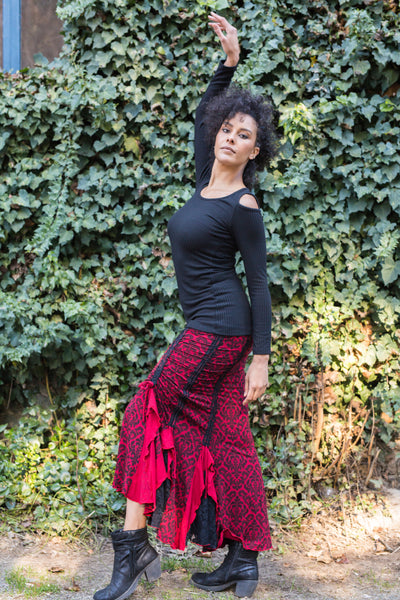 Flamenco Skirt- Red Black Vic w/Lace