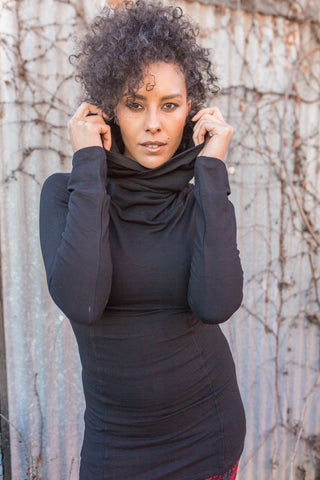 Cozy Cowl Tunic - Black
