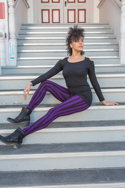 Striped Leggings - Purple/Black
