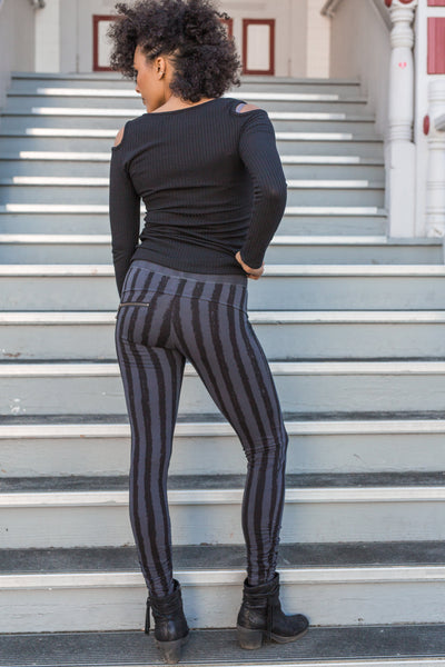 Striped Leggings - Gray/Black