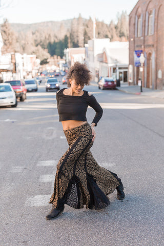 Flamenco Skirt- Black Gold w/Lace