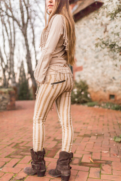 Striped Leggings - Cream/Gold