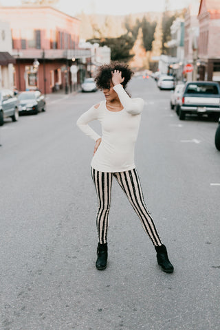 Striped Leggings - Cream/Black