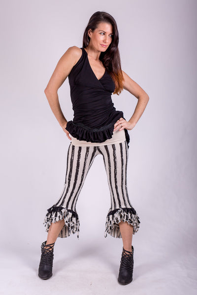 Striped Ruffle Capris - Cream/Black Rayon/Lycra