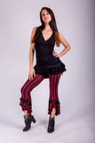 Striped Ruffle Capris - Cranberry