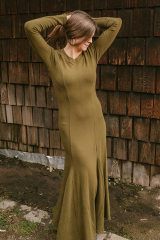 Bamboo Winter Dress - Mossy Green