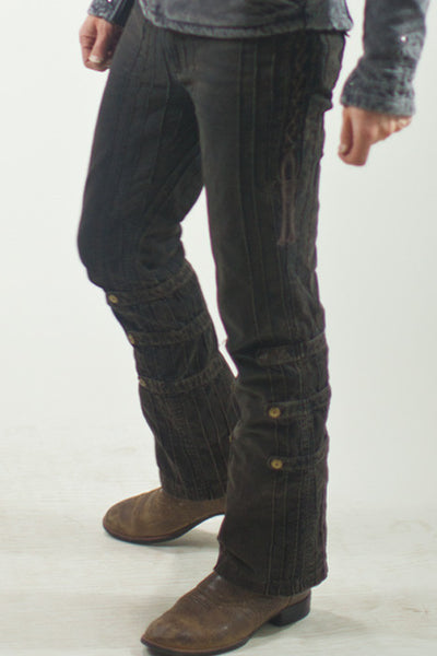 New Gaucho Pants - Org. Stretch Canvas - Rust Dusted (Black)
