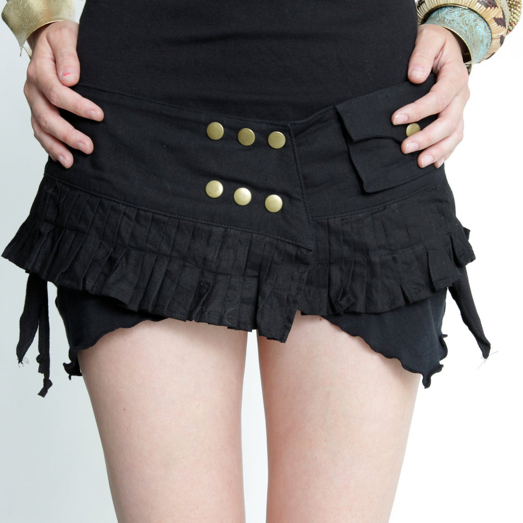 Cotton Mini Skirt Belt