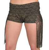 Gold Print Side Macrame Shorts