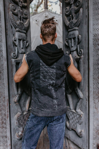 Sigil Vest - Black Washed Denim w/ Arrow Print