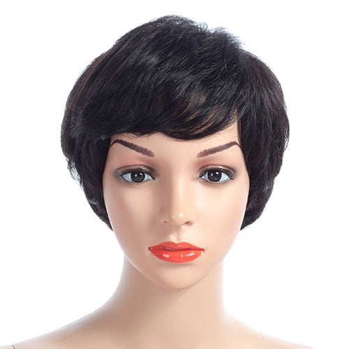 Brazilian Short Human Hair Wigs With Bangs Non-Remy Natural Wave 100% Human  Hair Wigs For Women 4 Inches 4a161c9f29