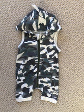 Load image into Gallery viewer, Camo Hooded Romper