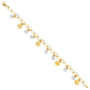 14k Yellow Gold Textured Bead Charm Bracelet, 7.5''