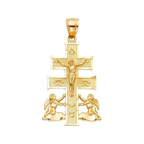14k Yellow Gold King Jesus Cross Pendant with Two Angels