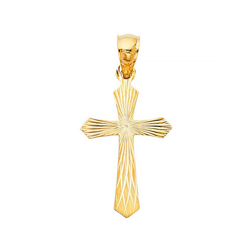 14k Yellow Gold Diamond-cut Catholic Cross Pendant