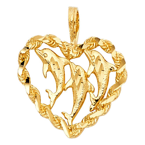 14k Yellow Gold Three Dolphins Hammered Heart Pendant