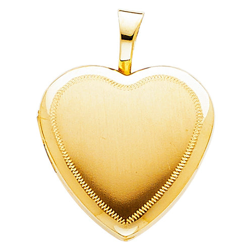 14k Yellow Gold Stitched Engrave Heart Locket Pendant