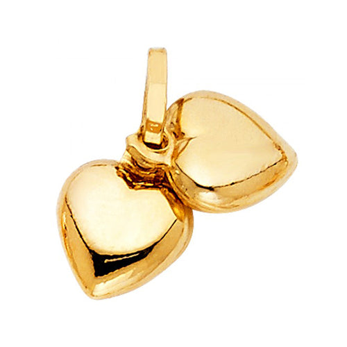14k Yellow Gold Two Puffed Hearts Pendant