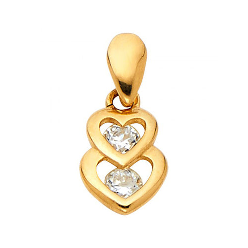 14k Yellow Gold Stacked Hearts Pendant with Cz Accent