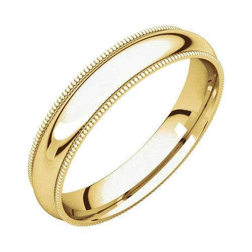 14k Yellow Gold Classic 4mm Lightweight Comfort Fit Milgrain Wedding Band Polished Finish