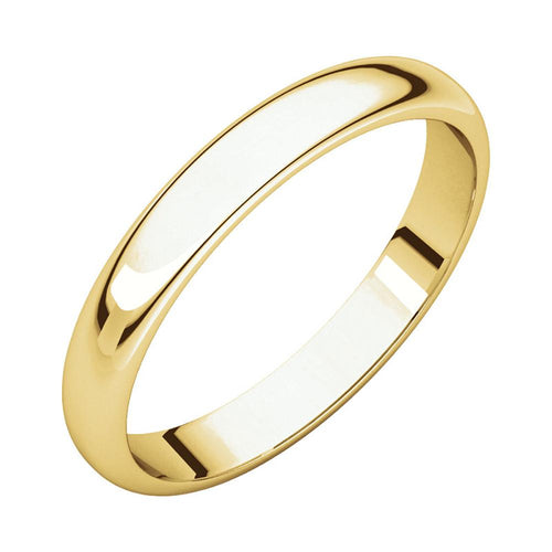 14k Yellow Gold Classic 3mm Regular Fit Plain Wedding Band Polished Finish