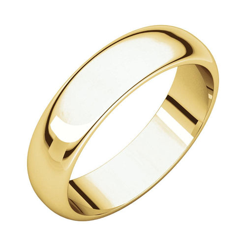 14k Yellow Gold Classic 5mm Regular Fit Plain Wedding Band Polished Finish