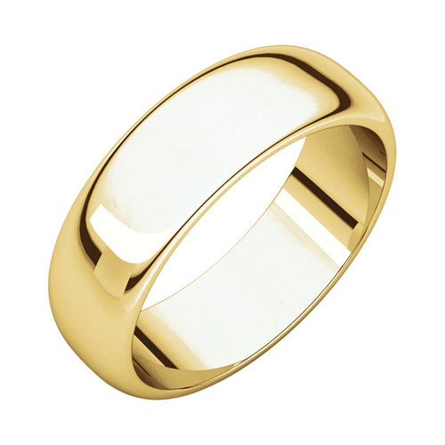 14k Yellow Gold Men's Classic 6mm Regular Fit Plain Wedding Band Polished Finish
