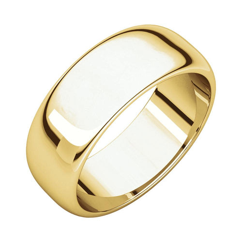 14k Yellow Gold Classic 7mm Regular Fit Plain Wedding Band Polished Finish for Men