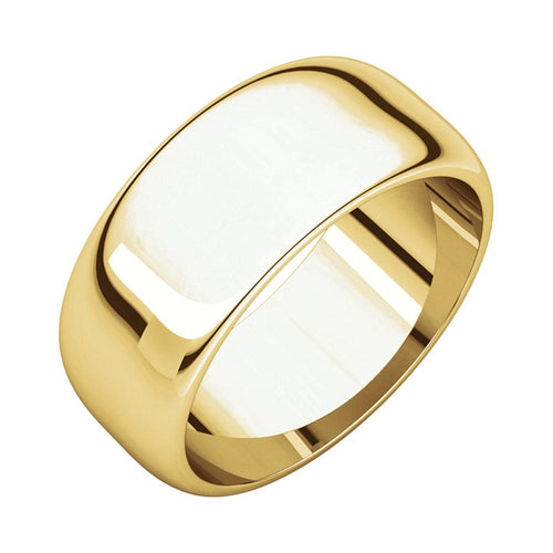14k Yellow Gold Men's Classic 8mm Regular Fit Plain Wedding Band Polished Finish
