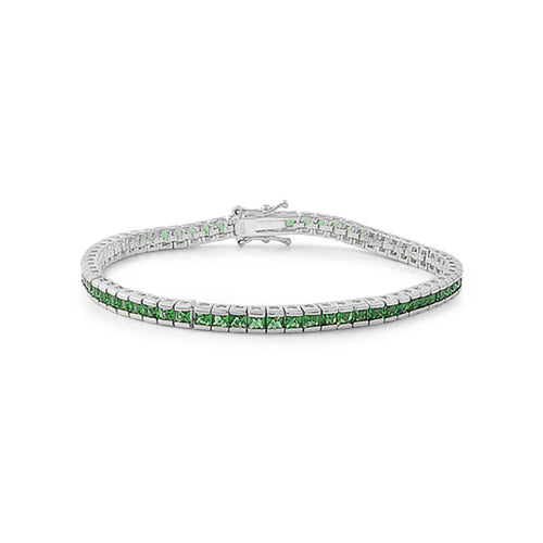 .925 Sterling Silver Classic May Birthstone Cubic Zirconia Tennis Bracelet