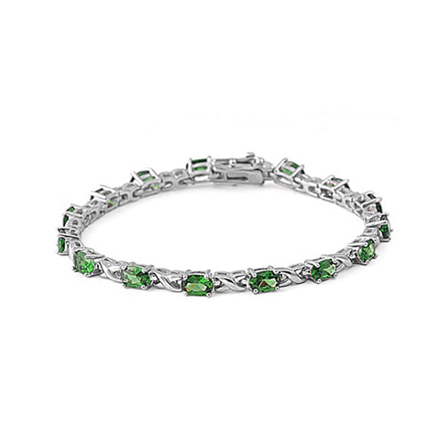 .925 Sterling Silver Oval May Birthstone Cubic Zirconia Crossover Tennis Bracelet