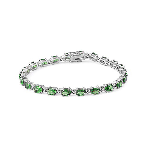 .925 Sterling Silver Oval May Birthstone Cubic Zirconia Tennis Bracelet