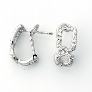 .925 Sterling Silver Cubic Zirconia Infinity French Clip Earrings