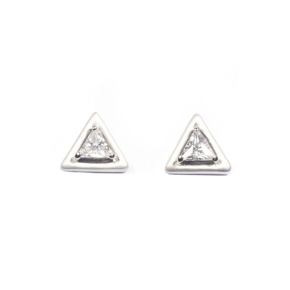 .925 Sterling Silver Bezel Triangle Cubic Zirconia Stud Earrings