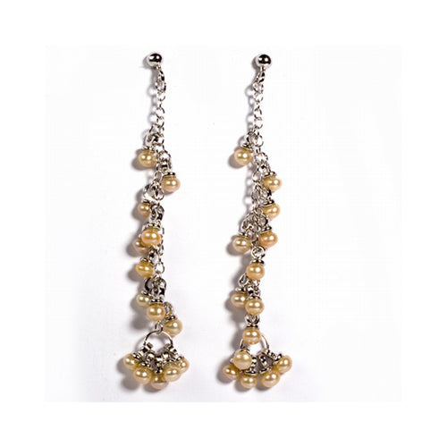 .925 Sterling Silver Simulated Clustered Pearl Dangle Earrings
