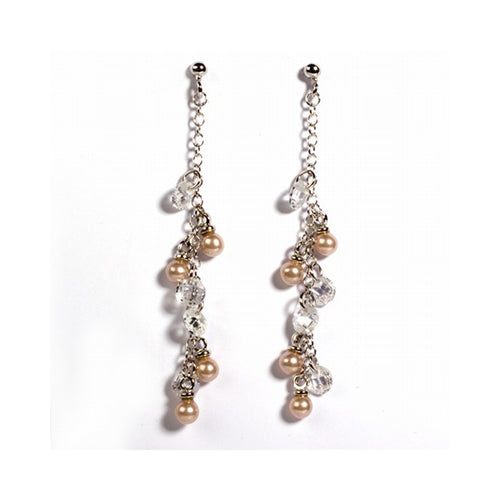 .925 Sterling Silver Simulated Clustered Pearl & Beads Dangle Earrings