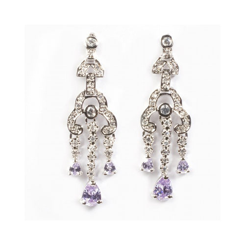 .925 Sterling Silver Violet Cubic Zirconia Chandelier Dangle Earrings