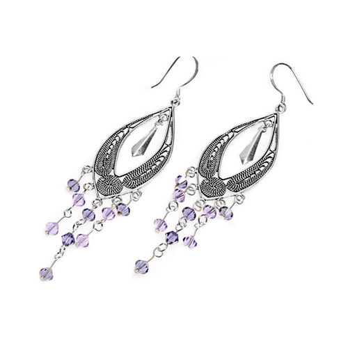 .925 Sterling Silver Violet Beads Leaf Drop Dangle Earrings