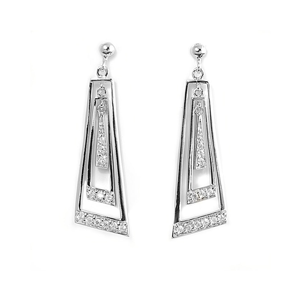 .925 Sterling Silver Abstract Cubic Zirconia Dangle Earrings