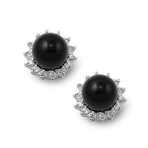 .925 Sterling Silver Black Onyx Stud Earrings with CZ Accents
