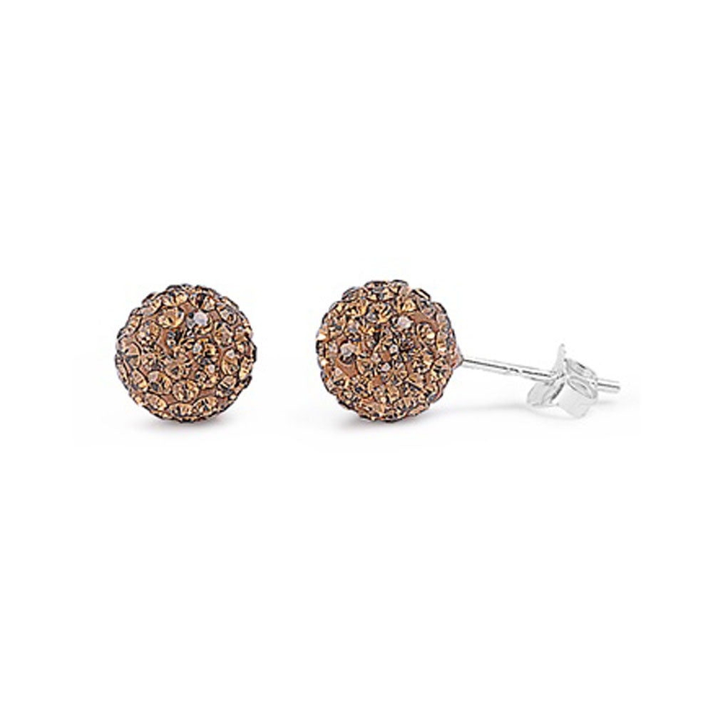 .925 Sterling Silver Clustered Yellow Cubic Zirconia Ball Stud Earrings