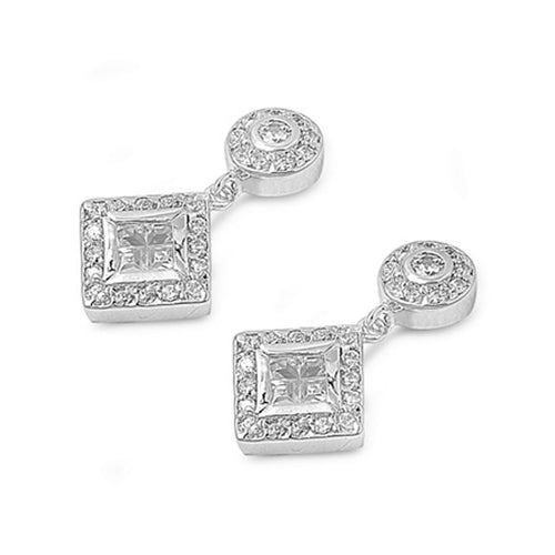 .925 Sterling Silver Vintage Cubic Zirconia Dangle Earrings