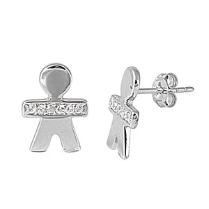 .925 Sterling Silver Boy Outline Cubic Zirconia Accent Stud Earrings